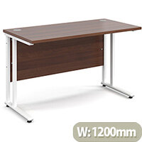 Maestro 25 WL straight desk 1200mm x 600mm - white cantilever frame, walnut top
