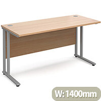 Maestro 25 SL straight desk 1400mm x 600mm - silver cantilever frame, beech top