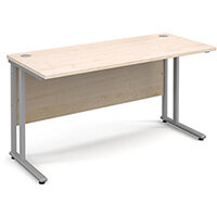 Maestro 25 SL straight desk 1400mm x 600mm - silver cantilever frame, maple top