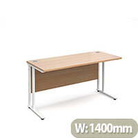 Maestro 25 WL straight desk 1400mm x 600mm - white cantilever frame, beech top