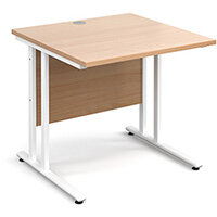 Maestro 25 WL straight desk 800mm x 800mm - white cantilever frame, beech top