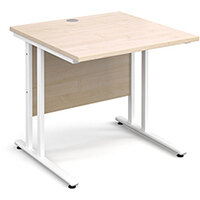 Maestro 25 WL straight desk 800mm x 800mm - white cantilever frame, maple top