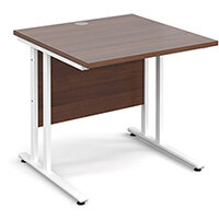 Maestro 25 WL straight desk 800mm x 800mm - white cantilever frame, walnut top