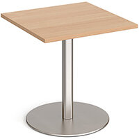 Monza Square Beech Dining Table with Flat Round Brushed Steel Base 700mm
