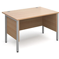 Maestro 25 SL straight desk with side modesty panels 1200mm x 800mm - silver H-Frame, beech top