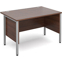 Maestro 25 SL straight desk with side modesty panels 1200mm x 800mm - silver H-Frame, walnut top