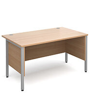 Maestro 25 SL straight desk with side modesty panels 1400mm x 800mm - silver H-Frame, beech top