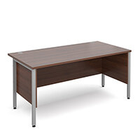 Maestro 25 SL straight desk with side modesty panels 1600mm x 800mm - silver H-Frame, walnut top