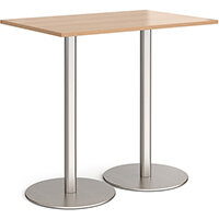 Monza Rectangular Beech Poseur Table with Flat Round Brushed Steel Bases 1200mmX800mm