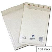 Mail Lite Bubble Lined Size A/000 110x160mm White Postal Bags Pack of 100