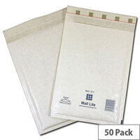 Mail Lite Bubble Lined Size F/3 220x330mm White Postal Bags Pack of 50