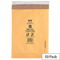 Mail Lite Padded Postal Bags Size H/5 264 x 374mm Gold Pack of 50