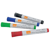 Nobo Glass Whiteboard Markers Assorted Pack of 4 1905323