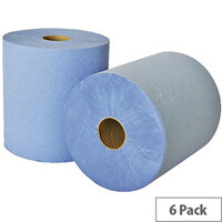 Leonardo 2 Ply Laminated Blue Paper Hand Towel Rolls Each 175m Long (6 Rolls) RTB175