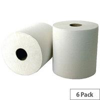 Leonardo 2 Ply Laminated White Paper Hand Towel Rolls 1.75m Long (6 Rolls) RTW175