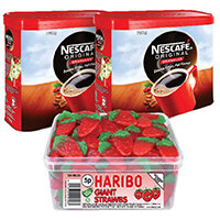 Nescafe Original Instant Coffee 750g (Pack of 2) Plus FOC Haribo Giant Strawbs NL819852