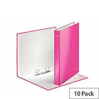 Leitz WOW A4 Plus 25mm 2 D-Ring Binder Pink Pack of 10 42410023