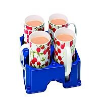 Muggi 4 Mugs Carrier Holder Blue (Pack of 1) MUG002
