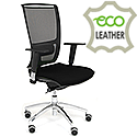 Ergonomic Mesh Task Chair With Lumbar Support & Adjustable Arms Black Eco-Leather Seat OZ Series