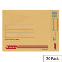 GoSecure Bubble Lined Envelope Size 5 220x265mm Gold Pack of 20 PB02153