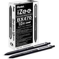 Pentel iZee Retractable Ballpoint Pen 1.0mm Black Pack of 12 BX470-A