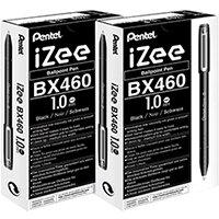 Pentel iZee Ballpoint Pen 1.0mm Black Pack of 12 2For1