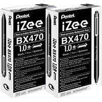 Pentel iZee Retractable Ballpoint Pen 1.0mm Black Pack of 12 2For1