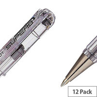 Pentel Black Superb Fine Ball Point Pen Pack of 12 BK77-A