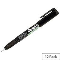 Pentel Black Superfine Permanent Marker 0.4mm Pack of 12