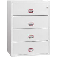 Phoenix World Class Lateral Fire File FS2414K 4 Drawer Side Filer Filing Cabinet with Key Lock White
