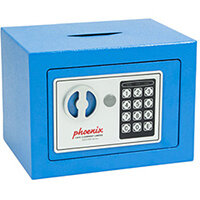 Phoenix SS0721EBD Compact Home Office Security Safe 4L With Electronic Lock & Deposit Slot Blue