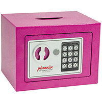 Phoenix SS0721EPD Compact Home Office Security Safe 4L With Electronic Lock & Deposit Slot Pink