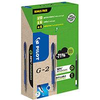 Pilot G-2 12 Gel Ink Rollerball Pens 12 Refills Medium Tip Blue Pack of 24 WLT556183