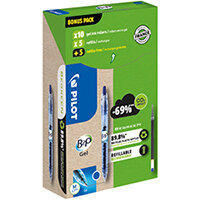 Pilot B2P 10 Gel Ink Rollerball Pens 10 Refills Medium Tip Blue Pack of 20 WLT556206