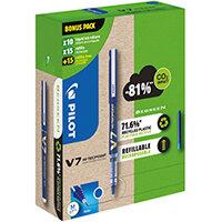 Pilot V7 10 Liquid Ink Rollerball Pens 30 Refills Medium Tip Blue Pack of 40 WLT556268