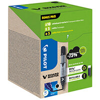 Pilot V Board Master 10 Drywipe Markers 10 Refills Medium Tip Black Pack of 20 WLT556275