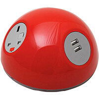 Pluto Domed On-surface Power Module with 1 x UK Socket, 1 x TUF (A&C connectors) USB Charger - orange