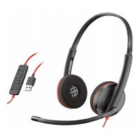 Plantronics Blackwire  C3220 Binaural Stereo Computer Headset - Wired, USB-A, Noise-Canceling, Volume Control - Mac and Windows Compatible - Colour: Black 209745-101