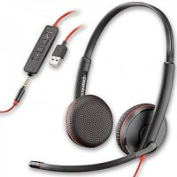 Plantronics Blackwire 3225 Headset Head-Band - Lightweight Design, Crystal Clear Audio - Black 3.5mm Connector USB Type-A 209747-101