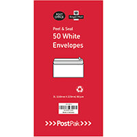 Envelopes Dl Peel & Seal White 80Gsm Pack of 50 POF27426