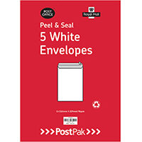 Envelopes C4 Peel & Seal White 90Gsm Pack of 5 POF27429