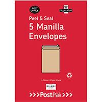 Envelopes C5 Peel & Seal Manilla 115Gsm Pack of 5 POF27430