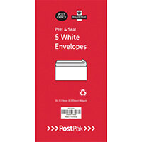 Envelopes Dl Peel & Seal White 80Gsm Pack of 5 POF27433