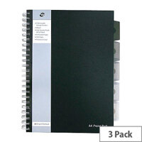 Pukka Pad Black A4 250 Page Project Book Pack of 3 SBPROBA4
