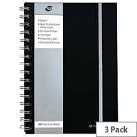 Pukka Pad A5 Poly Jotta Notebook 160 Pages Ruled Feint Black SBJPOLYA5 3 Pack