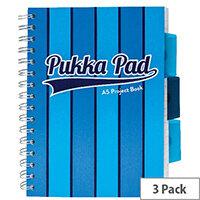 Pukka Pad Vogue Wirebound Project Book A5 Blue Pack of 3 8540-VOG