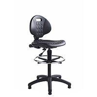Prema polyurethane industrial operator chair with contoured back support - black