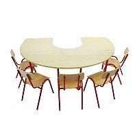 Horse Shoe Preschool Table 1200x1800x500mm White Steel Legs #PSD