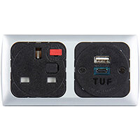 Proton Panel Mounted Power Module 1 x TUF (A&C connectors) USB Charger - Silver/Black