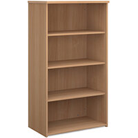 Universal bookcase 1440mm high with 3 shelves - beech